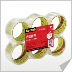 [大容量] 3M 3036-6PK 透明封箱膠帶 48mmx90y 6入