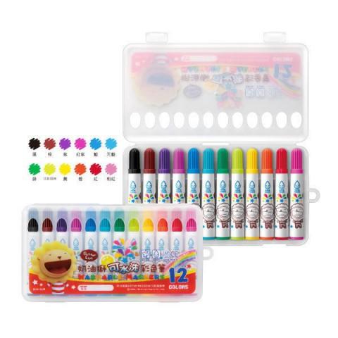 奶油獅 可水洗彩色筆 12 色 符合美國無毒檢驗標準