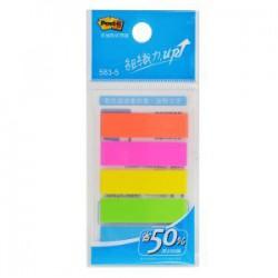 3M 583-5 利貼 可再貼 螢光標籤 (五色)