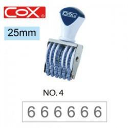 COX三燕 號碼印/4號/6連/ 25mm