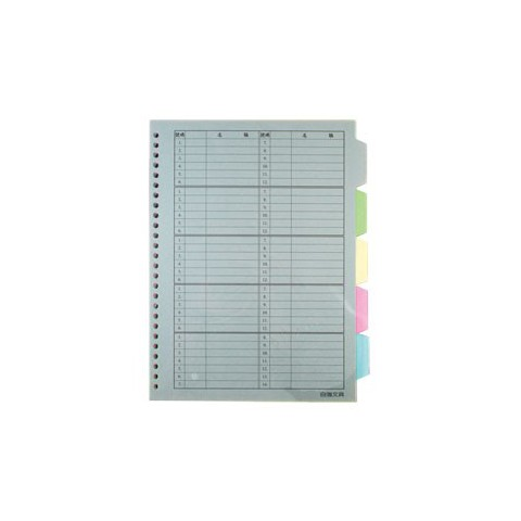 自強STRONG 26孔帳夾分段紙/B5 (五段)