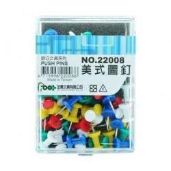 足勇 NO.22008 美式圖釘 彩色 55粒/盒
