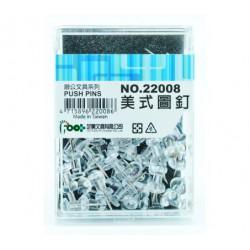 足勇 NO.22008 美式圖釘 透明 55粒/盒