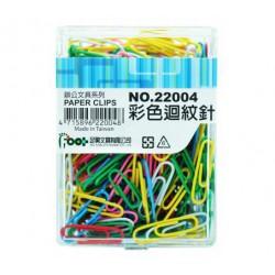 足勇 NO.22004 彩色迴紋針 28mm 12盒/中盒