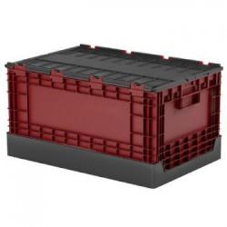 樹德 FB-6040L 掀蓋摺疊物流箱 紅/黑