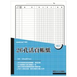 南冠 16K 26孔活頁帳紙 – 分類總帳簿 100入