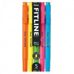 Pentel FITLINE 雙頭螢光筆五色套裝 SLW11-5